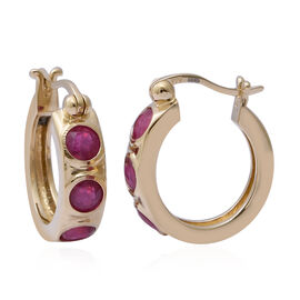 African Ruby Earrings (with Clasp) in Yellow Gold Overlay Sterling Silver 2.52 Ct.