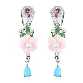 Multi Gem Stone Sterling Silver Earring  5.420  Ct.