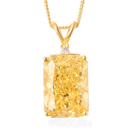 ELANZA Simulated Yellow Sapphire and Simulated Diamond Pendant With Chain in Yellow Gold Overlay Ste