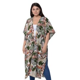 White and Multi Colour Leaf Pattern Kimono (Size 116.8X96.5cm)