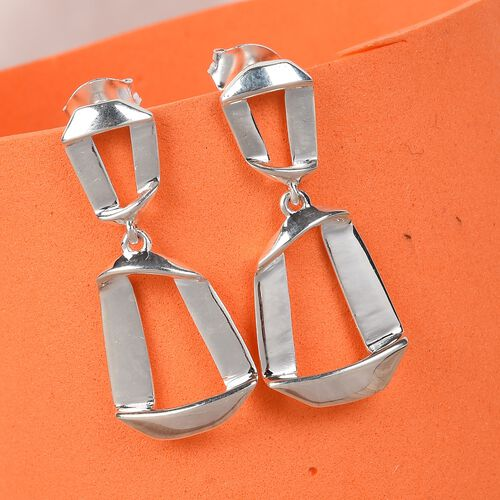 Designer Inspired-Sterling Silver Dangle Earrings (with Push Back), Silver wt. 3.75 Gms