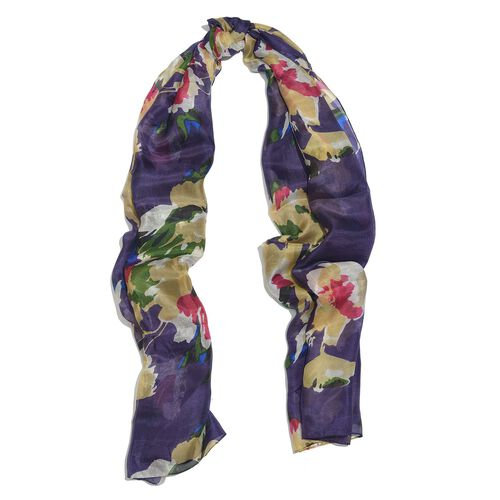 100% Mulberry Silk Purple, Beige and Multi Colour Handscreen Printed Scarf (Size 200x180 Cm)