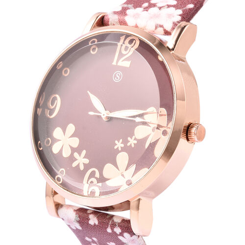 STRADA Japanese Movement Water Resistant Floral Motif Adorned Watch - Red