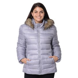 Women Puffer Jacket with Faux Fur Trim Hood and Two Pockets in Silver Grey Colour