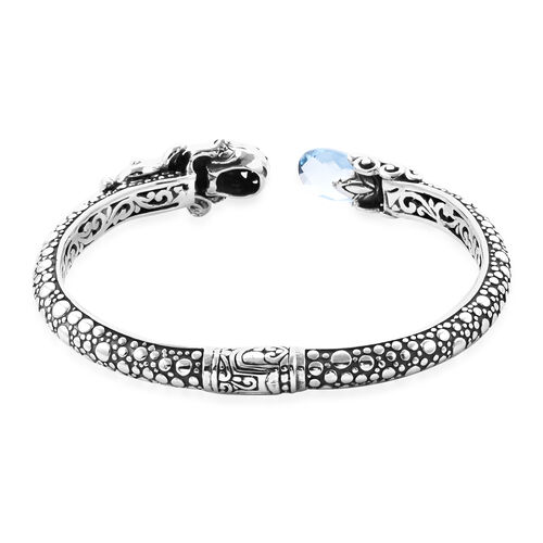Royal Bali Collection - London Blue Topaz and Black Onyx Bangle in Sterling Silver 4.89 Ct, Silver wt 22.00 Gms