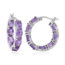 11.36 Ct Rose De France Amethyst Hoop Earrings in Rhodium Plated Sterling Silver 6 Grams