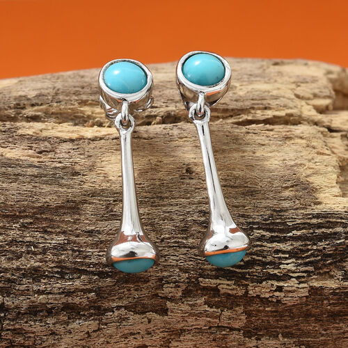 AA  Arizona Sleeping Beauty Turquoise(Rnd) Drop Earrings (with Push Back) in Platinum Overlay Sterling Silver 1.750 Ct