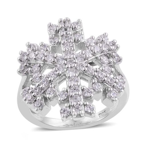 J Francis - Platinum Overlay Sterling Silver (Rnd) Starburst Ring Made with SWAROVSKI ZIRCONIA, Silv