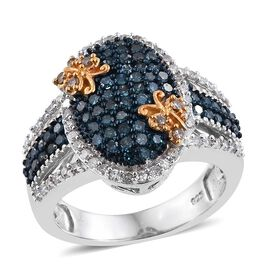 Blue Diamond (Rnd), Natural Champagne Diamond and White Diamond Ring in Platinum Overlay Sterling Silver 1.250 Ct.