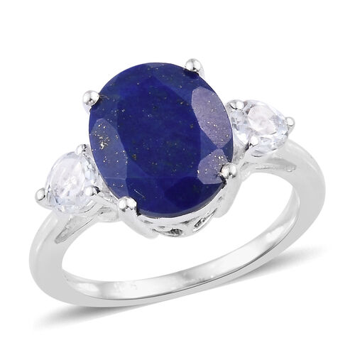 Lapis Lazuli (Ovl 11x9 mm), White Topaz Ring in Sterling Silver 4.20  Ct.