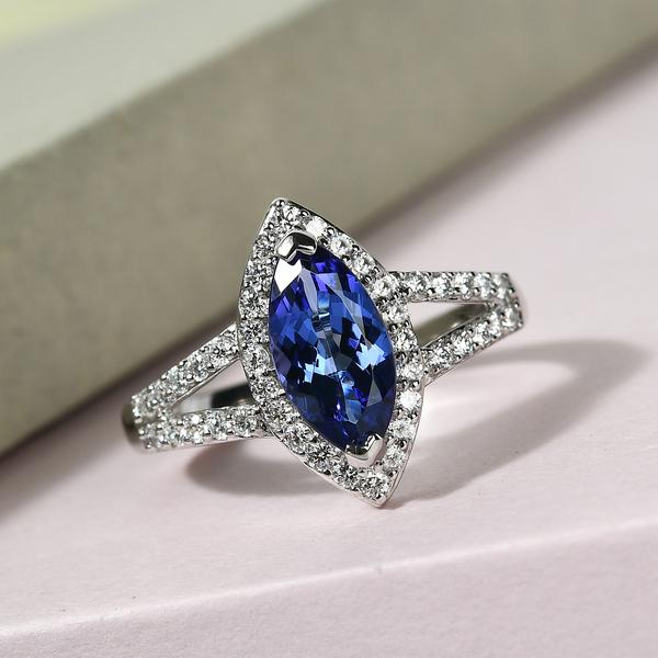 RHAPSODY 950 Platinum AAAA Tanzanite and Diamond (VS/E-F) Ring 1.89 Ct.