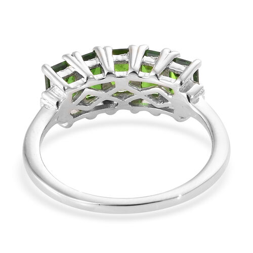 Extremely Rare Cut Russian Diopside (Oct) and Diamond 5 Stone Ring in Platinum Overlay Sterling Silver 1.750 Ct.