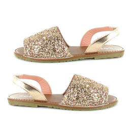 OLLY Palma Glitter Mule Sandal in Rose Gold Colour