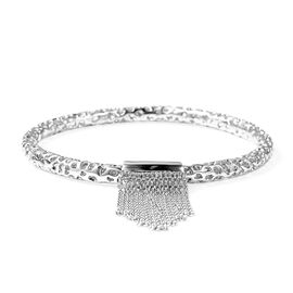 RACHEL GALLEY Allegro Tassel Bangle in Rhodium Plated Silver 23.98 Grams 7.5 Inch