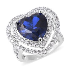 Simulated Blue Sapphire and Simulated Diamond Heart Halo Ring