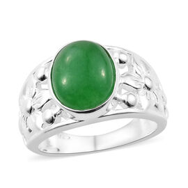 3.2 Ct Green Jade Solitaire Ring in Sterling Silver 4.24 Grams