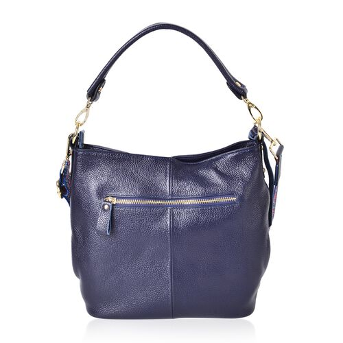 Premium Collection- Top Grain 100% Genuine Leather Navy Colour Crossbody Bag with Colourful Removable Shoulder Strap (Size 26X24X11 Cm)