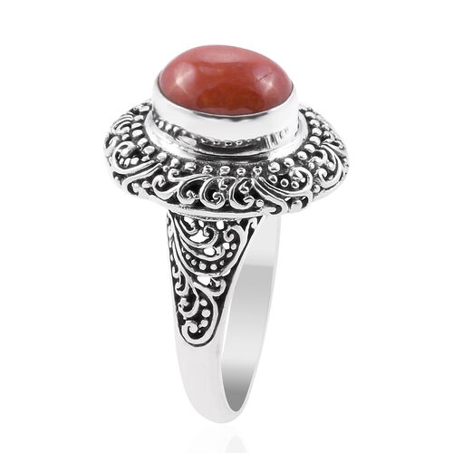Royal Bali Collection Red Jade (Ovl) Filigree Ring in Sterling Silver 6.100 Ct. Silver wt 6.80 Gms.