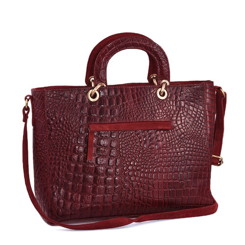 100% Genuine Leather Red Colour Croc Embossed RFID Protected Handbag (Size 41x36x28x11 Cm)