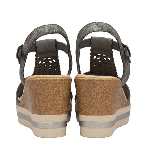 Dunlop Kassie T Bar Wedge Heeled Sandals (Size 7) - Pewter