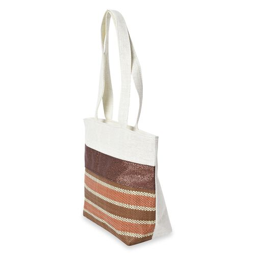 2 Piece Set - Strip Pattern Tote Bag with Zipper Closure (Size 44x30x14 Cm) and Hat with Bowknot (Size 29x31 Cm) - Chocolate and Multi