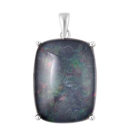 Collectors Edition Australian Boulder Opal (20x15mm) Pendant in Rhodium Overlay Sterling Silver