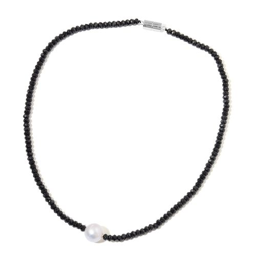 Rare South Sea White Pearl (Rnd 11mm) and Boi Ploi Black Spinel Beads Necklace (Size 18) with Magnetic Clasp in Rhodium Plated Sterling Silver 105.500 Ct.