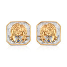 Fissure Filled Blue Sapphire Virgo Zodiac Earrings (with Push Back) in Platinum and Yellow Gold Over