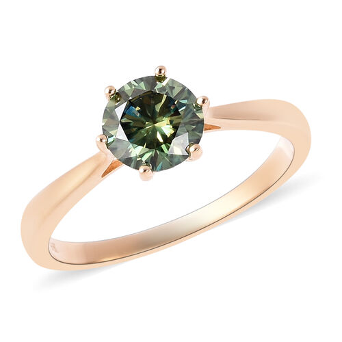 1 Carat Green Moissanite Solitaire Ring in 9K Gold