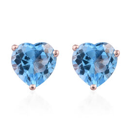 Blue Topaz (Hrt) Stud Earrings (with Push Back) in Sterling Silver 4.500 Ct.