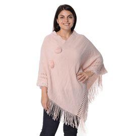 Knit Poncho with Pom Pom and Tassel (Size 90x75 Cm) - Light Pink