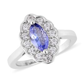 1.32 Ct Tanzanite and White Cambodian Zircon Halo Ring in Rhodium Plated Sterling Silver