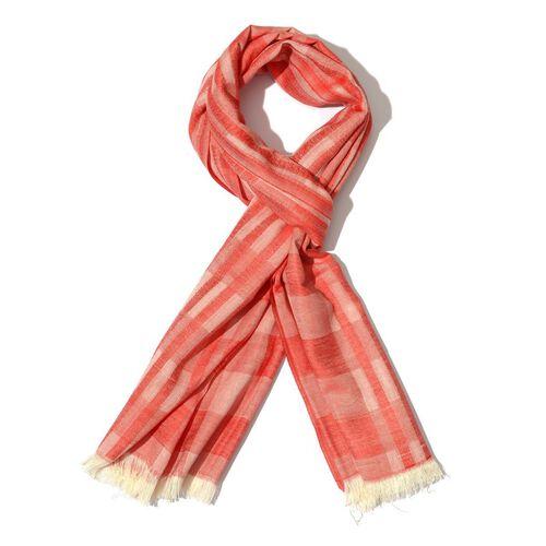 Modal and Cotton Checks Pattern Red Colour Shawl (Size 170x70 Cm)