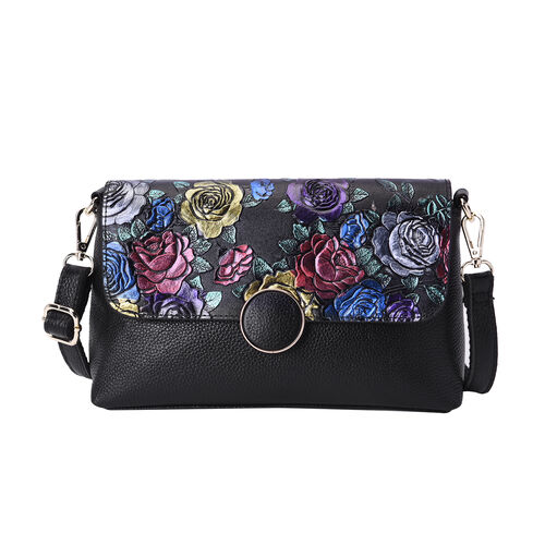 100% Genuine Leather Multi Colour Floral Embossed Pattern Crossbody Bag (25x18x7cm) with Magnetic Cl