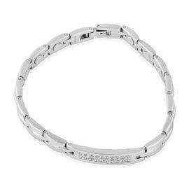 White Austrian Crystal (Rnd) Bracelet (Size 8) in Stainless Steel
