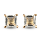 Prasiolite Solitaire Stud Earrings (with Push Back) in 14K Gold Overlay Sterling Silver 2.23 Ct.