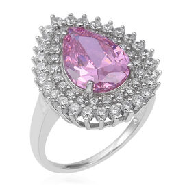 ELANZA Simulated Pink Diamond (Pear), Simulated Diamond Ring in Rhodium Overlay Sterling Silver, Sil