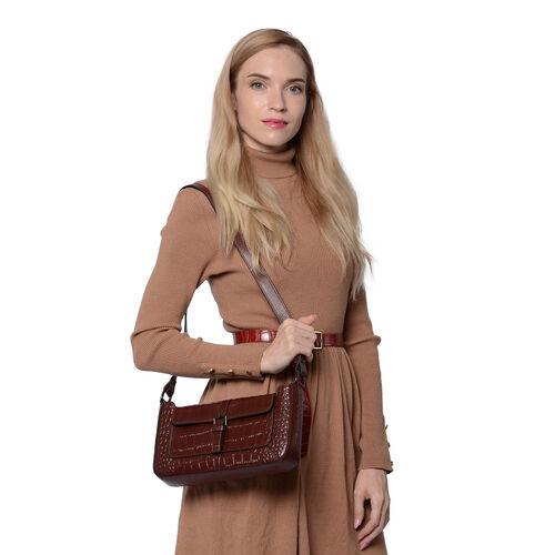 100% Genuine Leather Crocodile-Embossed Pattern Hobo Bag (28x5x16cm) with Adjustable Shoulder Strap - Chocolate