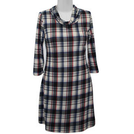 SUGAR CRISP Red Check Cowl Neck Tunic Dress