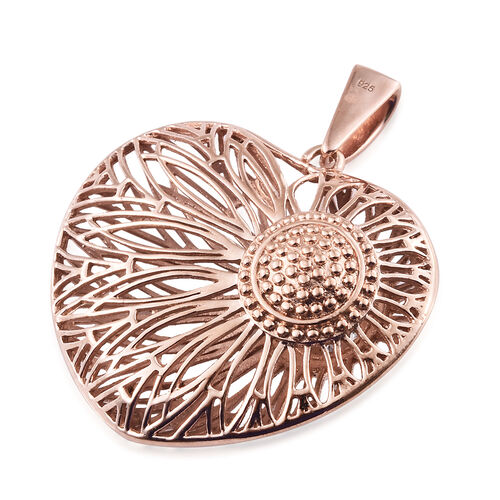 J Francis - Rose Gold Overlay Sterling Silver Heart Pendant Made wth SWAROVSKI ZIRCONIA, Silver wt 10.96 Gms.