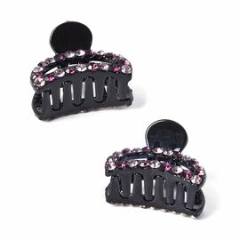 Set of 2 - Crystal Studded Small Hair Claw Clip - Light and Dark Purple