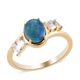 Zircon, Boulder Opal Triplet Main Stone With Side Stone Ring in 14K Gold Overlay Sterling Silver 0.2