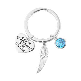 Charms De Memoire Sterling Silver Simulated Blue Zircon, Angel Wing and Heart Charms in Key Chain