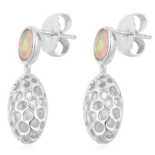 RACHEL GALLEY Ethiopian Welo Opal (Ovl) Pebble Lattice Drop Earrings (with Push Back) in Rhodium Plated Sterling Silver 1.060Ct. Silver wt 5.35 Gms.