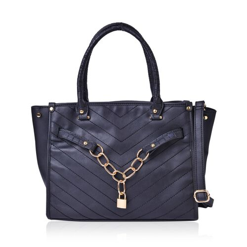 Black Colour Chevron Quilted Tote Bag with Lock Charm and Adjustable and Removable Shoulder Strap (Size 34.5X27.5X14 Cm)