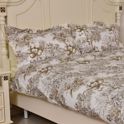 Green, Cream and Multi Colour Printed Microfiber Duvet Cover (Size 200X200 Cm), Fitted Sheet (Size 200X150 Cm) and Two Shams (Size 70X50 Cm)