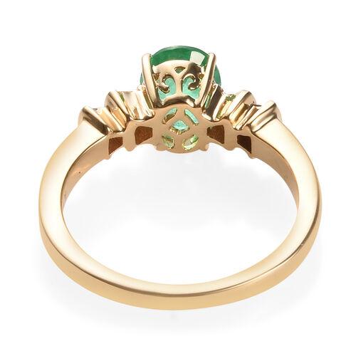 ILIANA 18K Yellow Gold AAA Boyaca Colombian Emerald (Ovl 8x6 mm), Diamond (SI/G-H) Ballerina Ring 1.250 Ct.
