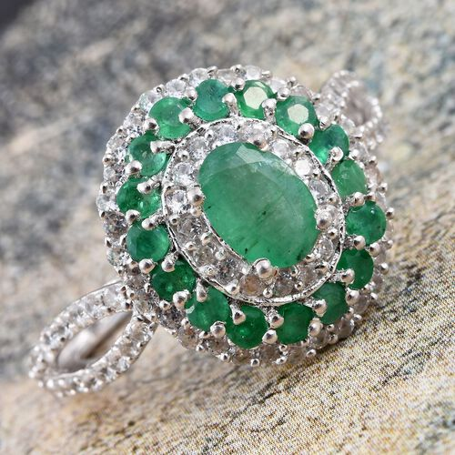 Kagem Zambian Emerald (Ovl 0.75 Ct), Natural Cambodian Zircon Ring in Platinum Overlay Sterling Silver 2.250 Ct.