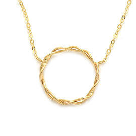 Italian Made 9k Yellow Gold Twisted Circle Necklace (Size 18)