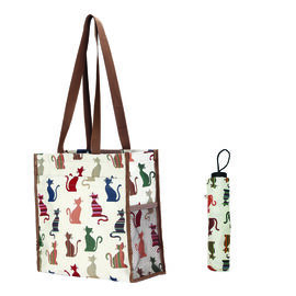 SIGNARE  - Tapestry Collection Cheeky Cat Multi Compartment Shopper (30x30x13.5cm) with Match Umbrel